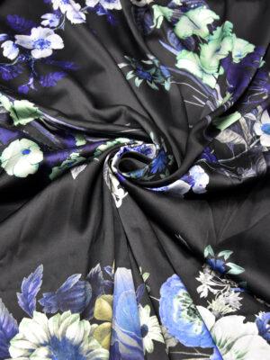 Шелк стрейч купон черный с цветами (2630) - Фото 18