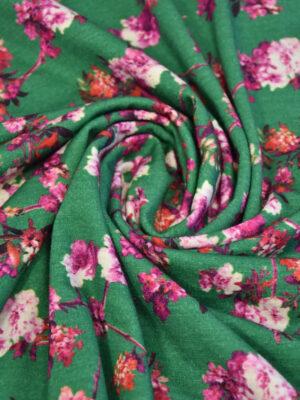 Трикотаж шерсть зеленый розовые цветы миндаля (2852) - Фото 13