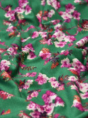 Трикотаж шерсть зеленый розовые цветы миндаля (2852) - Фото 12