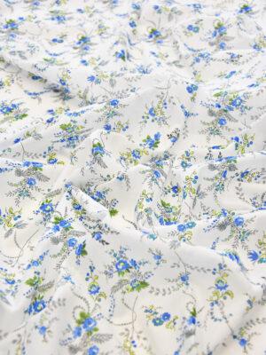 Батист хлопок мелкий голубой цветочек на белом (3552) - Фото 13
