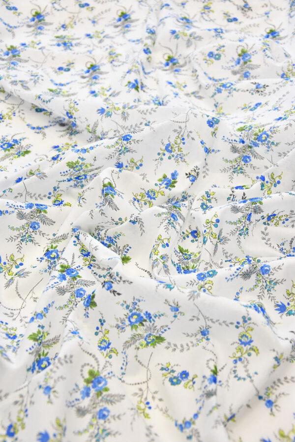 Батист хлопок мелкий голубой цветочек на белом (3552) - Фото 6