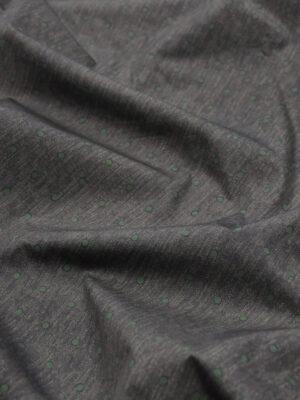 Хлопок серый меланж в зеленый горошек (2921) - Фото 15