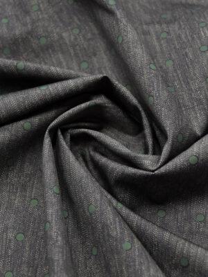 Хлопок серый меланж в зеленый горошек (2921) - Фото 16