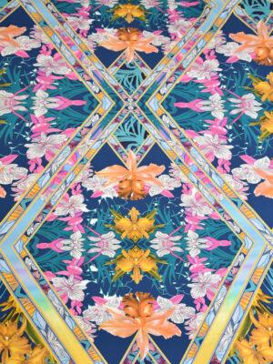 Крепдешин стрейч цветы калейдоскоп (3070) - Фото 15
