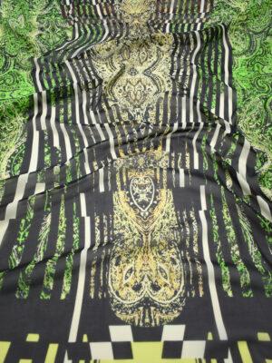 Креп шифон шелк стрейч купон зеленый орнамент (3114) - Фото 14