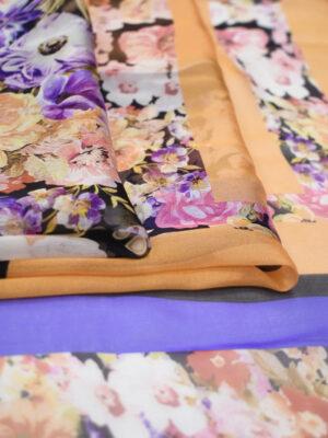 Шифон шелк купон с цветочной каймой (3123) - Фото 17