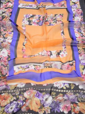 Шифон шелк купон с цветочной каймой (3123) - Фото 16