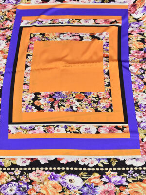 Шелк стрейч купон оранжевый цветы (3143) - Фото 17