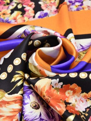 Шелк стрейч купон оранжевый цветы (3143) - Фото 18