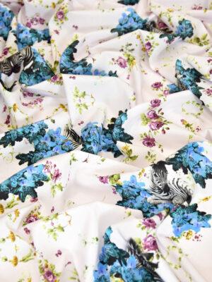 Креп шелк стрейч зебры голубые цветы (3153) - Фото 12