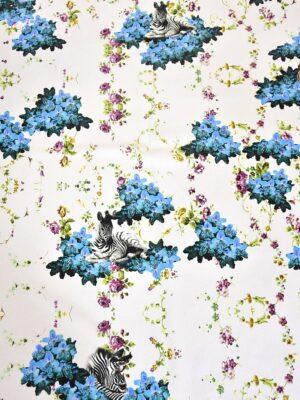 Креп шелк стрейч зебры голубые цветы (3153) - Фото 13