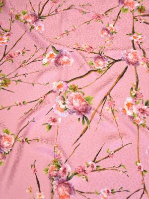 Шелк розовый с мраморной цветущий миндалем (3157) - Фото 12