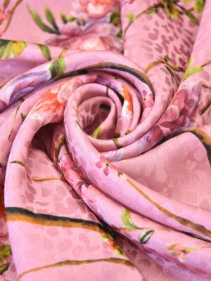 Шелк розовый с мраморной цветущий миндалем (3157) - Фото 13