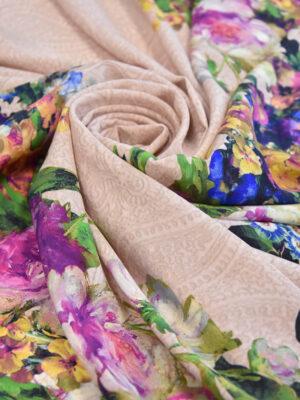 Крепдешин стрейч розовый цветочная кайма (3163) - Фото 13