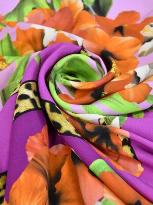 Шелк стрейч купон платочный принт тропики цветы листья (3293) - Фото 13