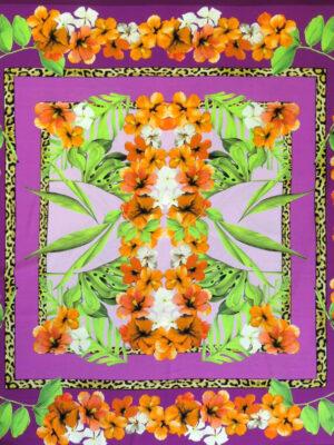 Шелк стрейч купон платочный принт тропики цветы листья (3293) - Фото 12