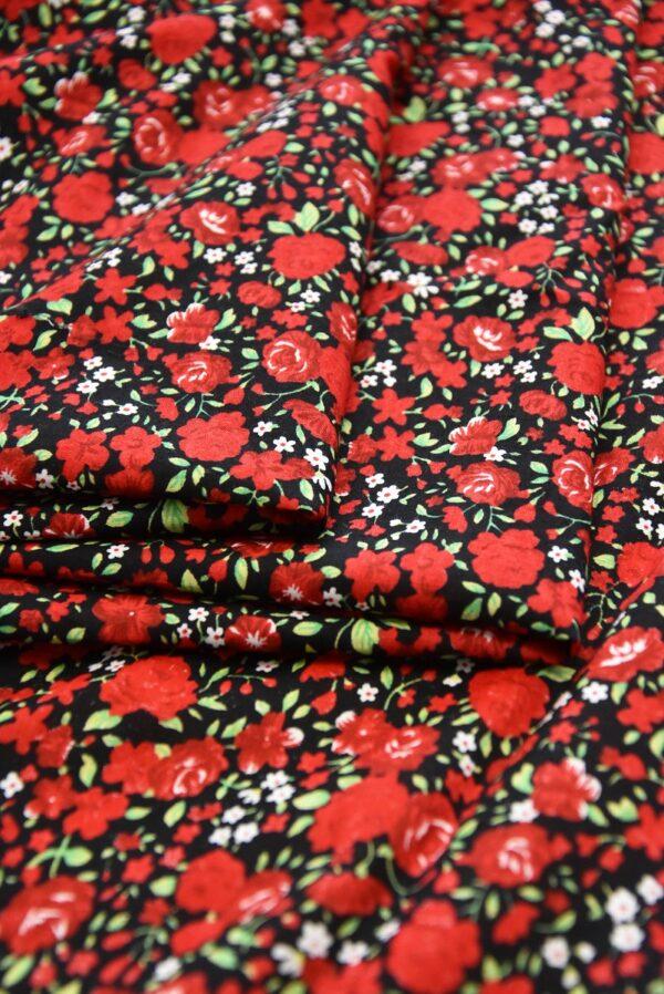 Хлопок мелкие красные розы на черном (3310) - Фото 7