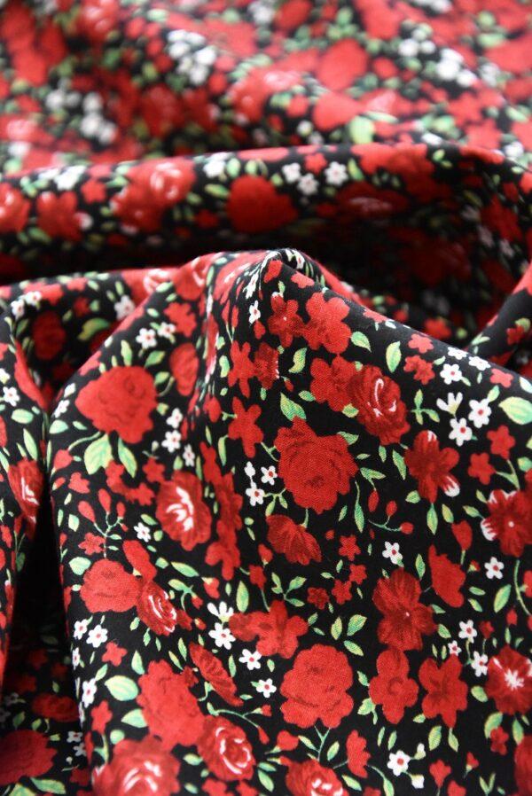 Хлопок мелкие красные розы на черном (3310) - Фото 8