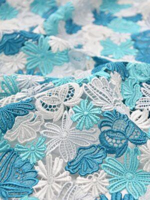 Кружево макраме голубые белые цветы (3330) - Фото 18