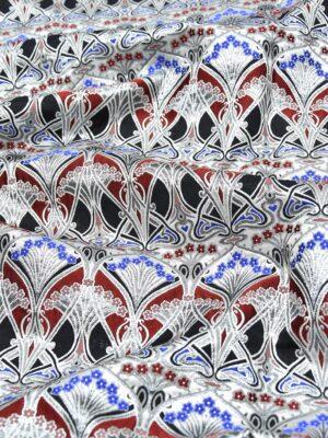 Жаккард орнамент красный с серебряным люрексом (3350) - Фото 11