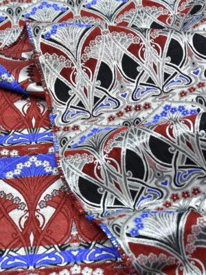 Жаккард орнамент красный с серебряным люрексом (3350) - Фото 12