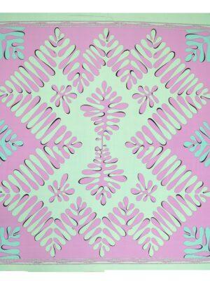 Трикотаж купон мятный розовые листья (3545) - Фото 11