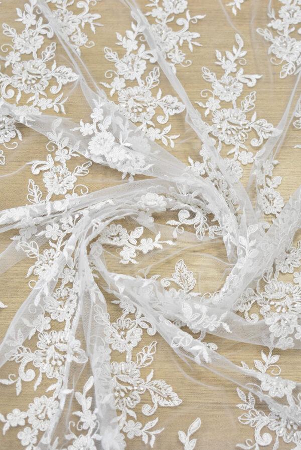 Кружево свадебное белое с роскошными фестонами (3561) - Фото 9