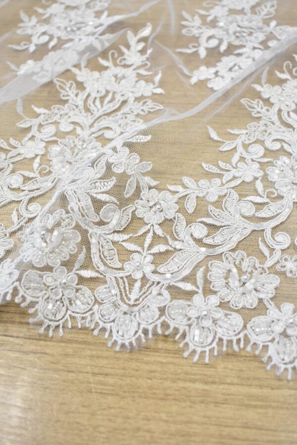Кружево свадебное белое с роскошными фестонами (3561) - Фото 7