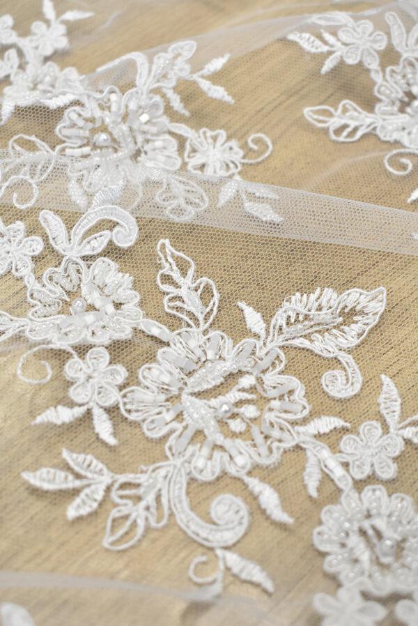 Кружево свадебное белое с роскошными фестонами (3561) - Фото 8
