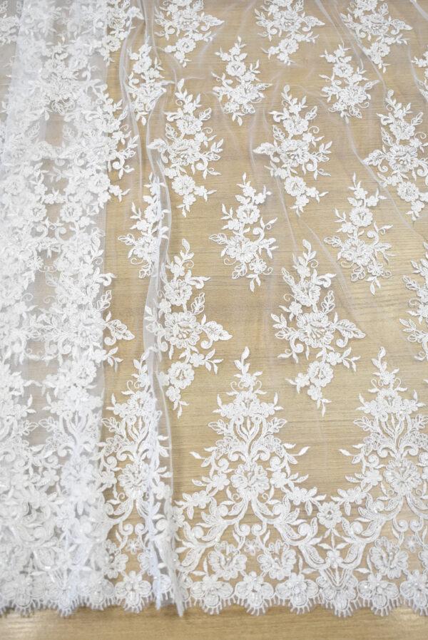 Кружево свадебное белое с роскошными фестонами (3561) - Фото 6