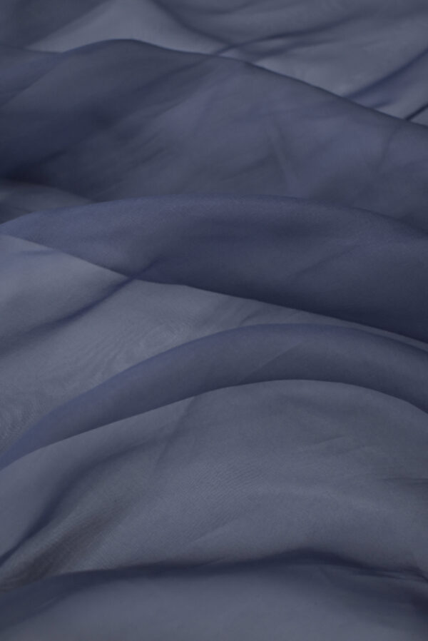 Органза шелк темно-синяя (3563) - Фото 6