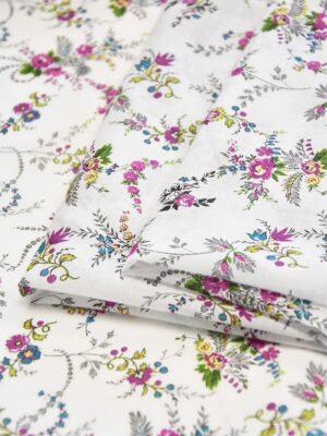 Батист хлопок мелкий малиновый цветочек на белом (3564) - Фото 18