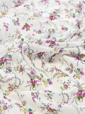 Батист хлопок мелкий малиновый цветочек на белом (3564) - Фото 17