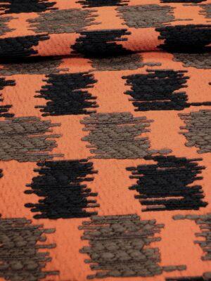 Жаккард букле терракотовый черный вышивка (3655) - Фото 14