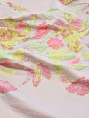 Жаккард тафта купон на персиковом фоне кайма из цветов (3664) - Фото 18