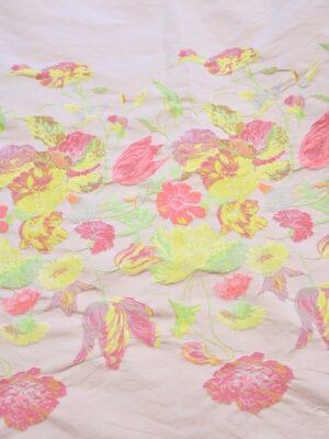 Жаккард тафта купон на персиковом фоне кайма из цветов (3664) - Фото 19