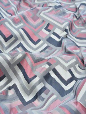 Жаккард геометрический узор розовый с серым (3675) - Фото 13