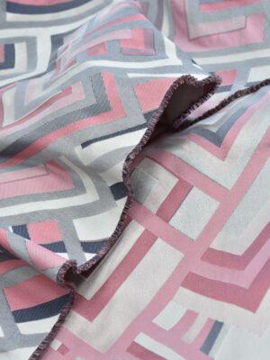 Жаккард геометрический узор розовый с серым (3675) - Фото 14