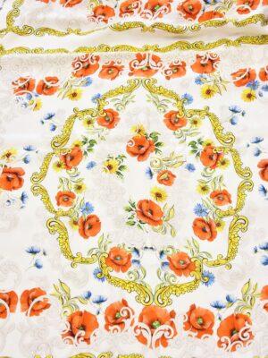 Шелк платок маки ромашки золотые вензеля (3685) - Фото 12