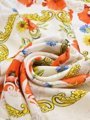 Шелк платок маки ромашки золотые вензеля (3685) - Фото 13