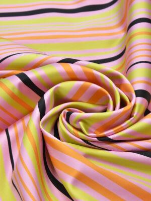Тафта полоска розовая желтая оранжевая (3693) - Фото 13