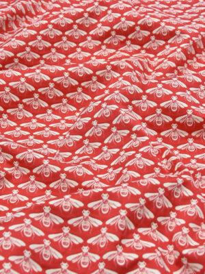Жаккард стрейч хлопок белые пчелы на красном (3694) - Фото 16