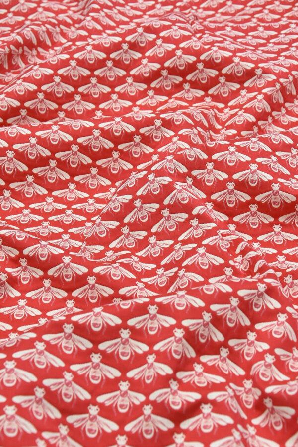 Жаккард стрейч хлопок белые пчелы на красном (3694) - Фото 6