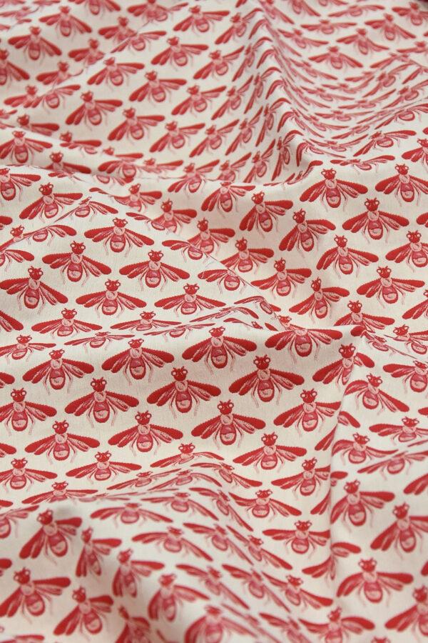Жаккард стрейч хлопок белые пчелы на красном (3694) - Фото 9