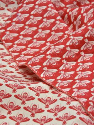 Жаккард стрейч хлопок белые пчелы на красном (3694) - Фото 17