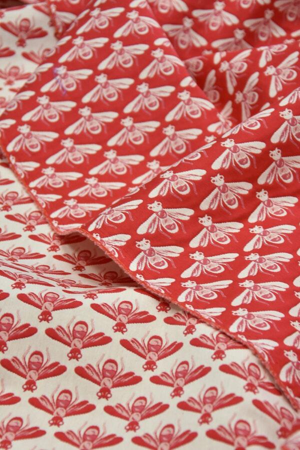 Жаккард стрейч хлопок белые пчелы на красном (3694) - Фото 7
