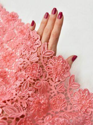 Кружево макраме 3Д узор цветы яркий розовый (3773) - Фото 16