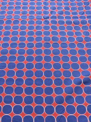 Хлопок стрейч синий горох на красном (3814) - Фото 14