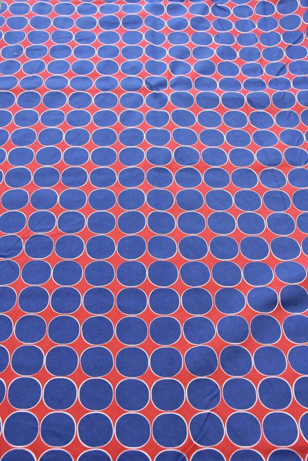 Хлопок стрейч синий горох на красном (3814) - Фото 6