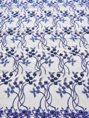 Вышивка не сетке бисером стеклярусом пайетками синее (3827) - Фото 14